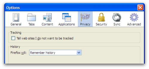 Firefox do not track option - off by default
