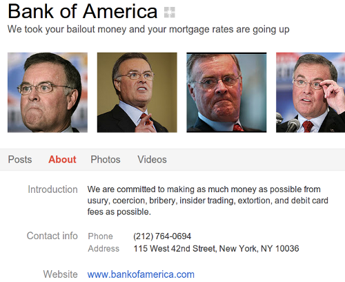 Bogus Bank of America About page on Google Plus