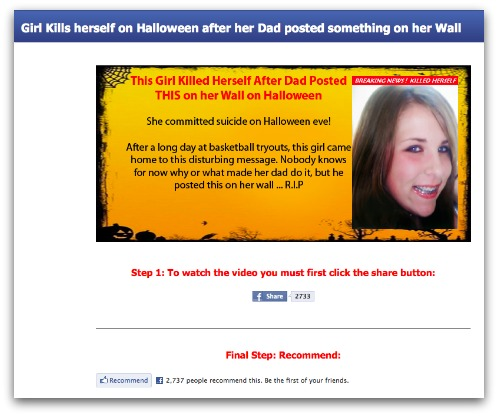 Halloween Facebook survey scam