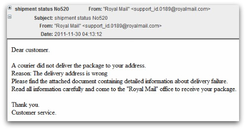 Example of fake Royal Mail malware email