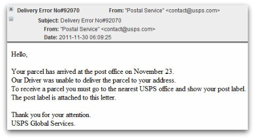 Example of fake USPS malware email