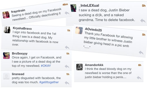 Tweets from upset Facebook users