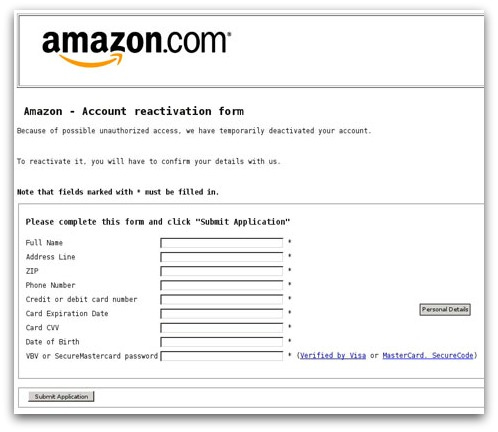 Bogus Amazon form