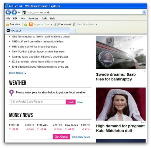 AOL website, , promoting Kate Middleton doll story