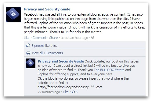 Blog banned by Facebook