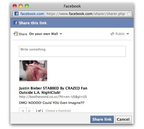 Justin Bieber Facebook scam