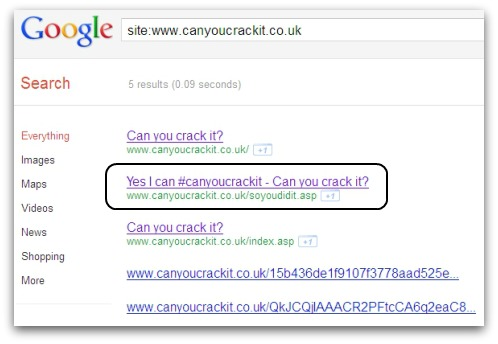 Can You Crack It search results on Google