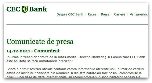 CEC Bank security breach statement