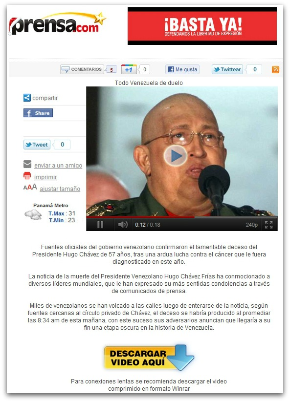 Malicious email claiming that Hugo Chavez has died