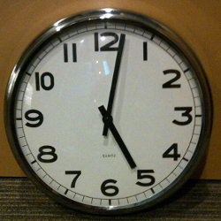 Clock at 5:01pm