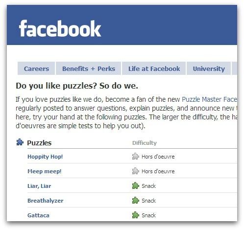 Facebook software engineering puzzle website