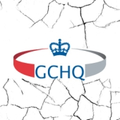 GCHQ logo with cracks