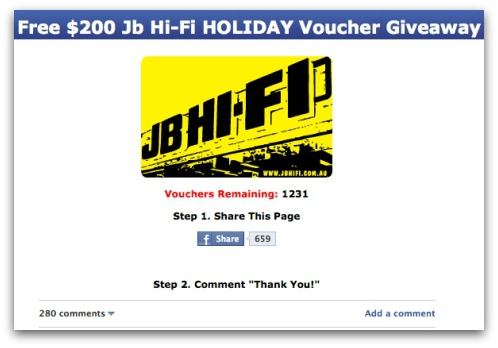 JB Hi Fi voucher scam on Facebook