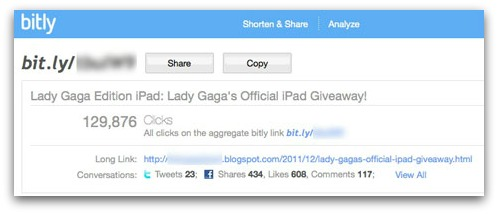 Bit.ly statistics for clicks on iPad scam on Lady Gaga's Facebook page