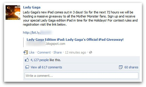 iPad scam on Lady Gaga's Facebook page