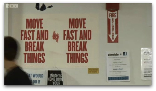 Move Fast and Break Things - poster at Facebook HQ
