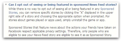 Facebook Help Center says you can not opt out of appearing in sponsored stories