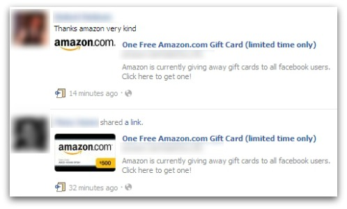 Amazon Gift card scam on Facebook