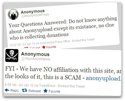 Anonymous tweets about Anonyupload