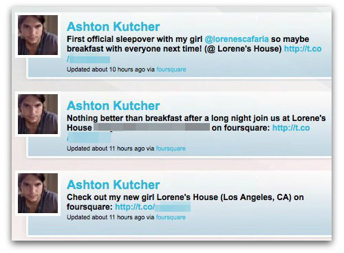 Ashton Kutcher hacked tweets