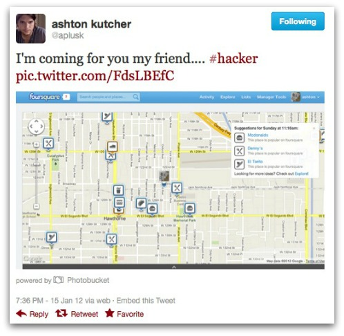Tweet from Ashton Kutcher