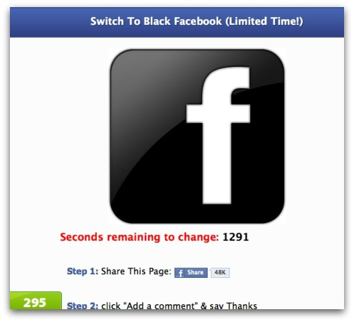 Switch to black Facebook
