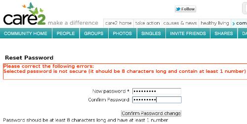 Care2.com password reset