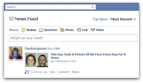 Example of clickjacking spam on Facebook