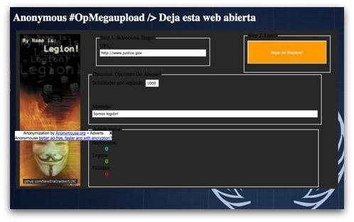 DDoS launch webpage