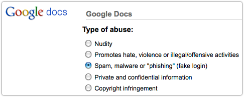 Google Docs abuse form
