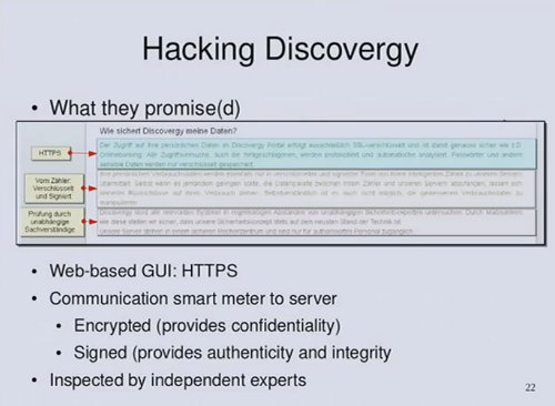 Hacking Discovergy slide from Smart Hacking for Privacy