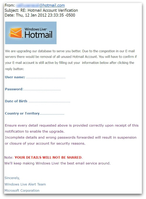 Hotmail account verification - phishing email