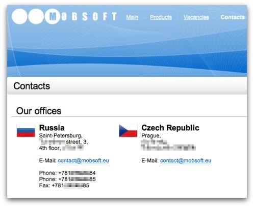 MobSoft claims to have offices in the Czech Republic and St Petersburg, Russia