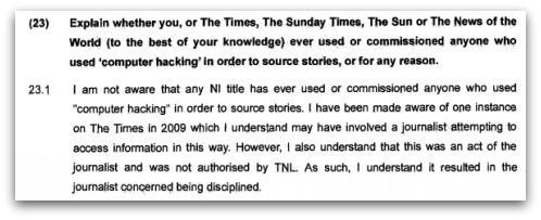 Evidence submitted by Simon Toms to the Leveson Inquiry