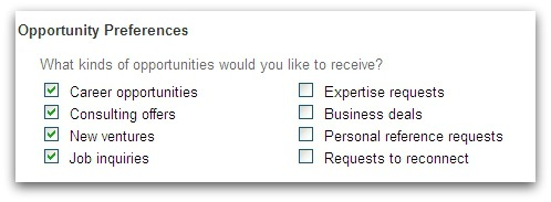 LinkedIn user asking to be contacted about career opportunities