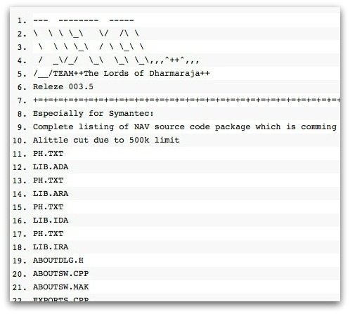 File list published by hacking group on PasteBin