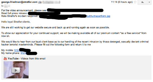 Stratfor spam message with Rickroll