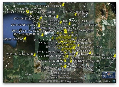 Locations tracked on FourSquare, displayed on Google Earth