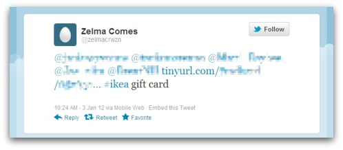 Gift card spam on Twitter