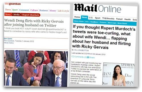 Newspapers report on Wendi Deng's tweets