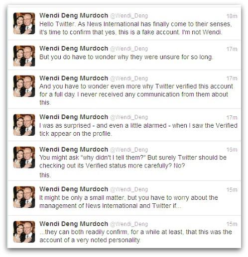 Fake Wendi Deng Murdoch Twitter account admits it's not the real Wendi
