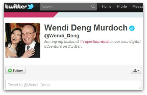 Wendi Deng Murdoch Twitter account - with verified icon
