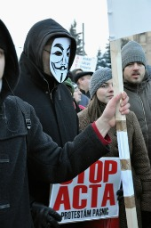 ACTA protestor, courtesy of salajean/Shutterstock.com