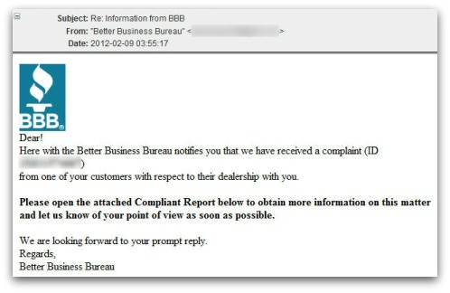 Better Business Bureau malware attack