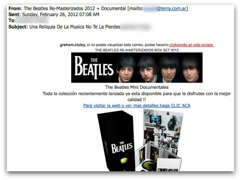Beatles spam email