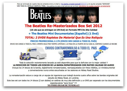 Beatles spam website