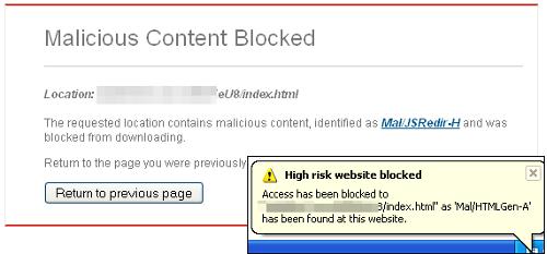 Blackhole blocked by Sophos Anti-Virus