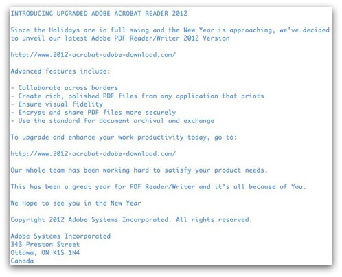 Bogus Adobe email