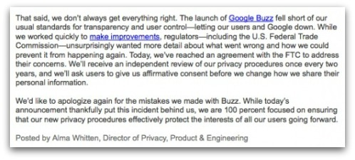 Apology from Google