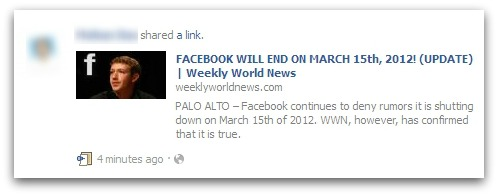 News of alleged end of Facebook, linked to from Facebook